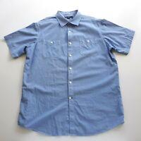 Daniel Cremieux Mens Size L Large Blue Cotton Button Up Short Sleeve Dress Shirt