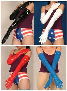 Superior quality! PVC Lycra Vinyl Long zentai Black/Red/white/Blue Opera Gloves