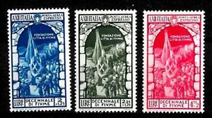 Regno 1934 - Fiume - 3 val - sass A 66/68 - Aereo espressi nuovi senza linguella