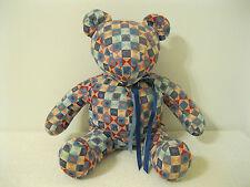 "15"" Handmade Folk Art Multi-Colored Patchwork Cotton Print Stuffed Teddy Bear"
