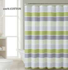100% Cotton Fabric Shower Curtain: Light and Dark Green, White, Silver