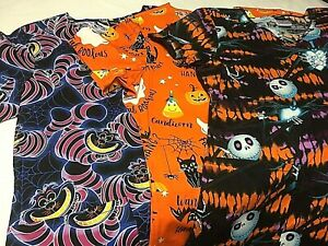 Halloween V Neck Scrub Top - Medical Dental Nursing Vet - You Pick - Disney NWT