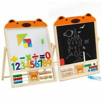 Double Sided Stand Board Easel Chalk Children Kids Learning Drawing Blackboard