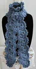 Beautiful Country Blue Queen Anne's Lace Handmade Crochet Scarf