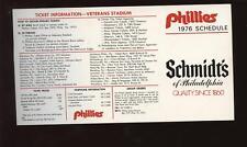 1976 Philadel Phillies Schmidts Pocket Schedule NM/MT