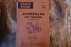 CAT Caterpillar 619 Tractor Scraper Parts Manual Book Catalog spare 1965 list