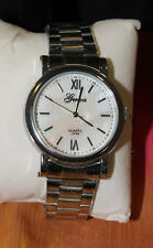 """GLOWING MOTHER OF PEARL SILVER QUARTZ WATCH with SECOND HAND """"ANALOG"""" (1026)"""