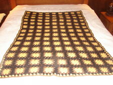 Granny Square Handmade Handcrafted Crochet Afghan Throw Blanket done in Browns