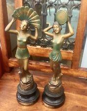 More details for pair of art deco spelter figurines - la danse and la musique