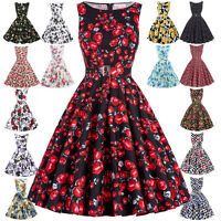 PLUS SIZE Vintage 50s Causal Party Retro Swing Floral Skater Cocktail TEA Dress