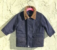 The Childrens Place blue denim brow corduroy collar sherpa lined boy jacket 24m
