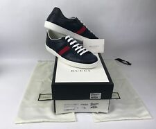 Gucci Men's New Ace Low Top Leather Sneakers in Blue Size 9 G/ US 10 - NEW