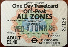 One Day Travelcard Offpeak All Zones between Loughton and Debden 1986