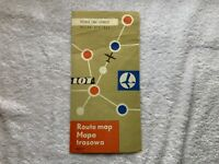LOT POLISH AIRLINES 1962 EUROPE ROUTE MAP PARIS LONDON BRUSSELS POLAND TRAVEL