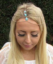 Turquoise Gold Head Chain Headpiece Hair Jewellery Headband Boho Festival 1694