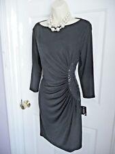 Nine West Dress 8 NWT Black Boat Neckline Embellished Side Party Coctail Wiggle