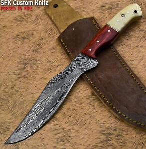 SFK Handmade Damascus Steel Camel Bone Art Hunting Skinner Knife