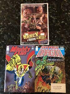 Savage Dragon 148 FCBD 2009, Mighty Man 1 2004, Nancy A Dragon In Hell! 1 2014