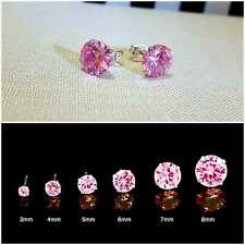 WOMENS GENUINE 925 SOLID STERLING SILVER CUBIC ZIRCONIA ROUND STUD EARRINGS PINK