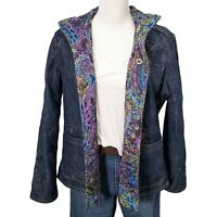 Chico's Reversible Denim Quilted Jacket Size 2 Large Embroidered Paisley