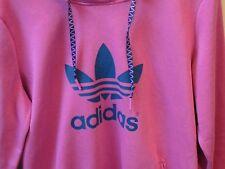 Women's Large Adidas Hoodie Kangaroo Pouch Pocket Pullover Shirt Pink w/ Blue