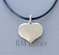 "Stainless Steel HEART Pendant Choker Necklace Black Waxen cord 18 1/2"" C20"
