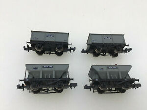 BACHMANN N GAUGE 4x 27T IRON ORE TIPPLER & HOPPER WAGONS - PARTLY WEATHERED