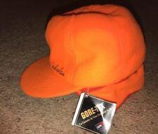 Cabelas Fleece Insulated Ear Flaps Winter Gortex Orange Hat Cap Sz Small NWT