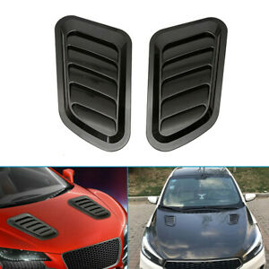 1Pair Glossy Black Car Front Engine Air Flow Intake Turbo Bonnet Vent Cover Hood