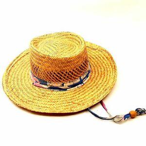 Broad Brim Women's Straw Sun Boat Hat Blue & Mauve Fabric Adjustable Draw String