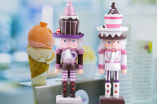 2PCS Nutcracker Ornaments Home Decor Gift Ice Cream Sweetheart Student Wooden