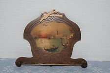 Antique Wooden Towel Rack With Lithograph Collectible