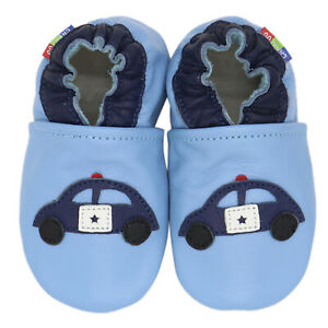carozoo police car light blue 0-6m soft sole leather infant baby shoes