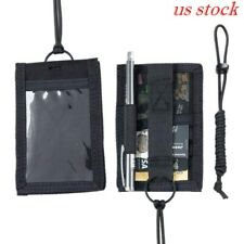 Tactical ID Card Credit Card Holder Organizer Hanging Pouch with Neck Lanyard