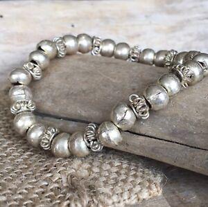 Handmade African White Metal Textured Beaded Bracelet Ghana Beads