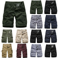 Mens 3/4 Army Combat Camo Work Cargo Shorts Pants Pockets Trousers Summer Casual