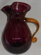Blenko Handcrafted AMETHYST w/AMBER HANDLE 112 oz Glass Pitcher MADE IN USA