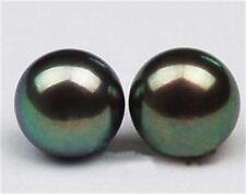 Genuine 12-13mm TAHITIAN Black Pearl Earring 14k White Gold plating PE90