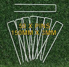 50 x WEED MAT PINS - 3MM x 150MM - SECURE WEEDMAT, WEED CONTROL MATTING, GEOFAB