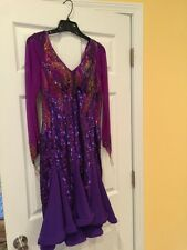 DanceSport sequin Latin Dress designed by Julia Purple Size 8 - 14