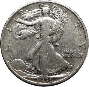 1936 WALKING LIBERTY Half Dollar Bald Eagle United States Silver Coin i45154
