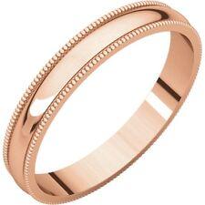 SOLID 14K ROSE GOLD 3MM MILGRAIN DESIGN WEDDING BAND RING