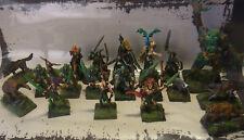 WHFB Mordheim/Mortheim Wood Elves / Waldelfen Kriegsbande 20 Miniaturen bemalt
