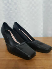 Ladies M&S Heels Shoes Size UK 5 EUR 38 Black Leather Square Toe Workwear Office
