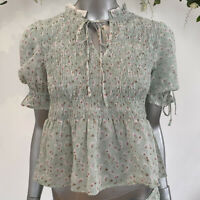 Influence Tea Blouse Top Size 10 Shirred Body Floral Mint Green Frill Hem EW47
