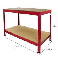 Tavolo da Lavoro Q-Rax Rosso Senza Bulloni in Acciaio e MDF 90x120x60cm