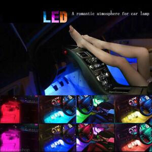 4PC 9 LED Car SUV Interior Decor Neon Atmosphere Light Strip Control Color