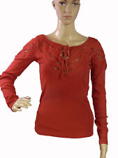 FREE PEOPLE T-Shirt Tee Top Red Orange S/P Embroidered