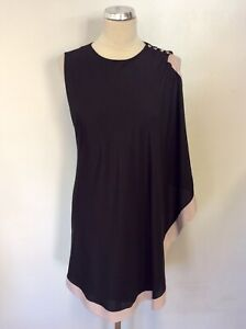 BRAND NEW TED BAKER BLACK & NUDE EDGE WATERFALL TRIM DRESS SIZE 2 UK 10