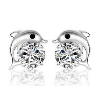 Fashion Women Lady 925 Silver Plated Crystal Dolphin Ear Stud Earrings Jewelry